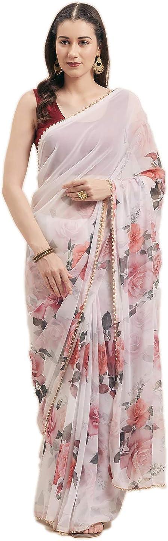 Craftstribe Chiffon Stone Work Milwaukee Mall SEAL limited product Sari Bollywood Indian Wedding Nav