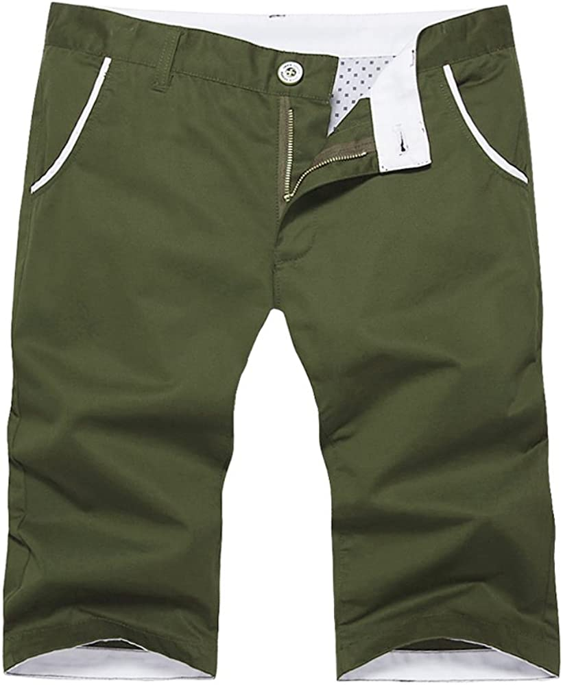 OCHENTA Men's Regular Fit Flat Front Clearance Free shipping SALE Limited time Shorts Army #140 Cotton Gre