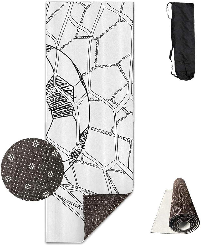70inch Long 28inch Wide Comfort Velvet Yoga Mat, Soccer Game in The Grid Mat Carrying Strap & Bag