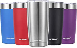 SIMPLE DRINK 20oz Vacuum Insulated Tumbler with Splash-Proof Lid - 18/8 Stainless Steel Coffee Travel Mug - Double Walled coffee Cup (20 oz)
