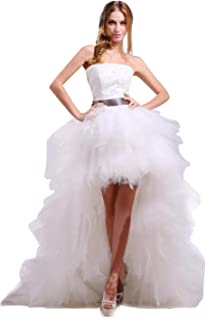 b1d13177b69 Ikerenwedding® Women s Strapless High Low Layer Tulle Beach Wedding Dress