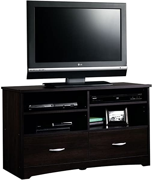 Sauder 413045 Beginnings TV Stand With Drawers For TV S Up To 46 Cinnamon Cherry Finish