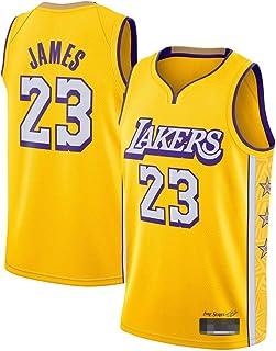 Herren-Basketballtrikot - Los Angeles Lakers Lebron James # 23, Trikot der Yellow City Edition, tolle Materialoberteile