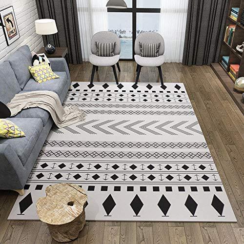 Home Modernos De Moda Habitación Infantil Dormitorio Sala De Estar Pelo Corto Alfombra Patrón De Línea Blanca Negra De Terciopelo Simple De Estilo Étnico Vintage 80×120CM