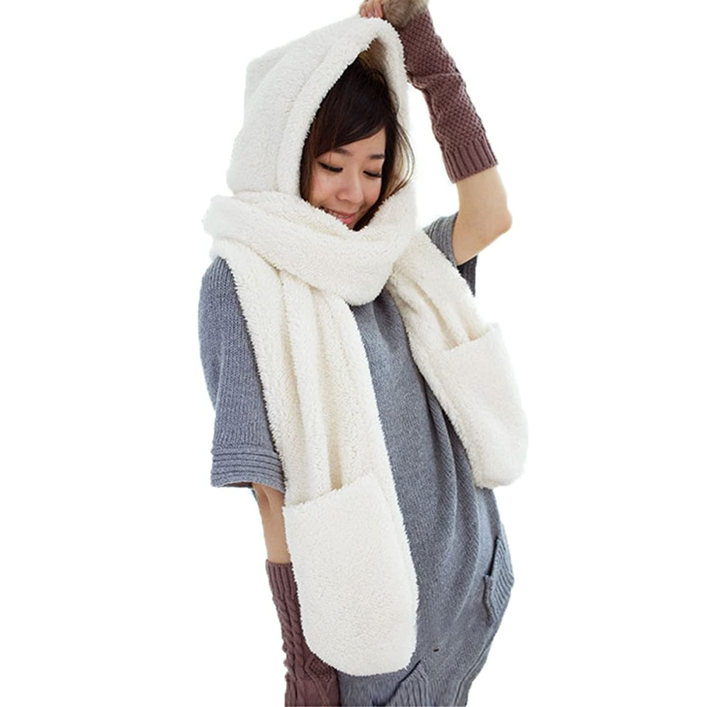 運命排除承知しましたMIOIM マフラー レディース かわいい もこもこ 手袋 フード付き ネックウォーマー 防寒 小顔効果 ポケット付き ストール アウトドア 寒さ対策 必需品 暖かい 3点一体 セット 男女兼用