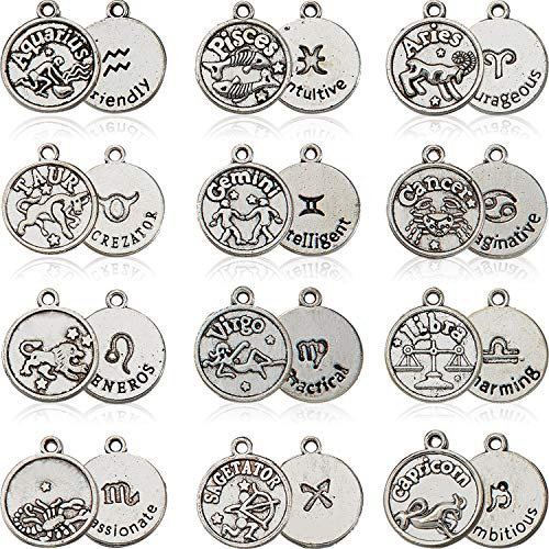 84 Pieces/ 7 Sets Round Zodiac Sign Charms Constellation Pendants Beads DIY for Bracelet Necklace Earrings Jewelry Making Supplies, Tibetan Silver