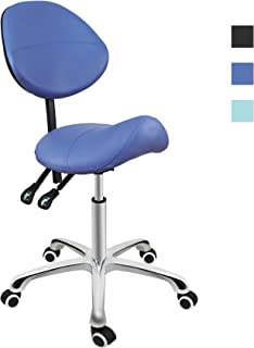 Grace & Grace Professional Saddle Stool Series Hydraulic Swivel Comfortable Ergonomic with Heavy Duty Metal Base for Clinic Dentist Spa Massage Salons Studio (with Backrest, Blue)