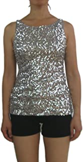 Whitewed Ladies Glitter Sparkle Sequin Paillettes Evening Wear Tank Tops Shirts