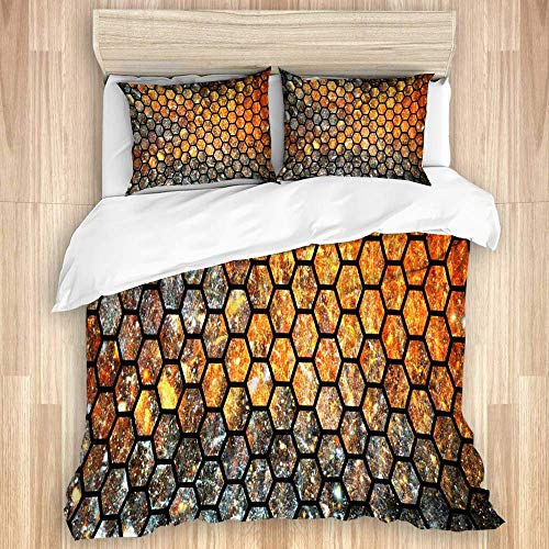 Juego de funda nórdica de 3 piezas, textura geométrica abstracta con destellos naranjas, arte digital fractal hexagonal de fantasía, juegos de fundas de edredón para dormitorio, colcha con cremallera