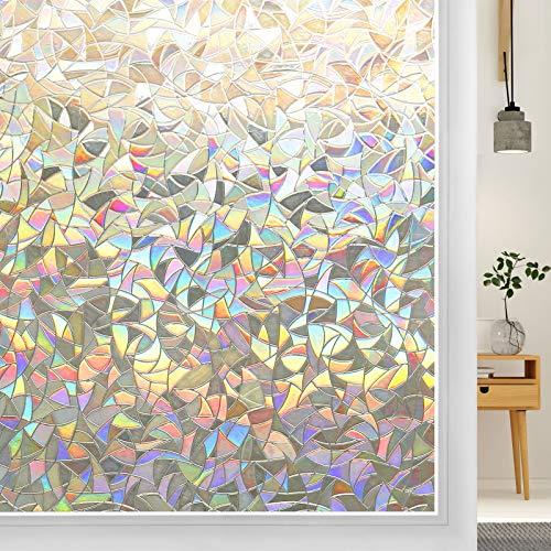 DOWELL Fensterfolie Selbsthaftend 3D Fenster Dekorfolie Sichtschutzfolie Folie für Sichtschutz Blickdicht Durchsichtig Glastür Selbstklebend Lichtspiel Motiv Glanzoptik Farbig Bruchglas 44.5 x 300 cm