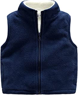 Warm Sweater Vest for Kids 3-10 Years in Winter and Spring, Solid Color Zipper Fleece Thick Sleeveless Jacket