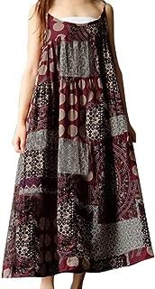 Women Summer Sleeveless Linen Strappy Loose Bohe Print Long Casual Sling Dress Plus Size
