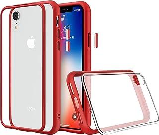 RhinoShield(ライノシールド) iPhone XR用 モジュラーケース カスタマイズ可 衝撃吸収 高耐久 ワイヤレス充電&カメラレンズ対応 - レッド耐衝撃バンパー&クリア背面