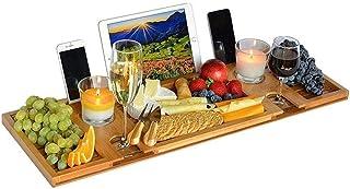 Relux Premium 100%ナチュラルバンブーバスキャディブリッジ、ワイングラス携帯電話タブレット用多機能バスタブキャディバスルームブリッジシェルフホルダー