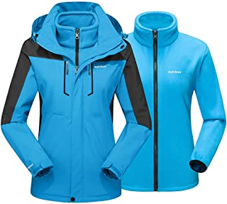 EKLENTSON Mujer Chaqueta - 3 en 1 Chaqueta Impermeable para Esquí y Snowboard Abrigo de Invierno Cálido de Lana con Capuch...