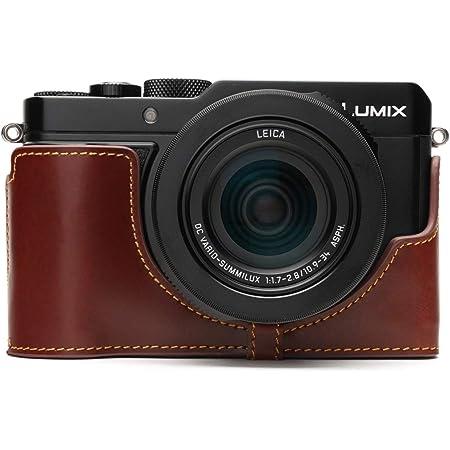 Lumix DC-LX100 II Camera Case, BolinUS Handmade Genuine Real Leather Half Camera Case Bag Cover for Panasonic Lumix DC-LX100 II LX100 II Camera Bottom Opening Version + Hand Strap -Brown