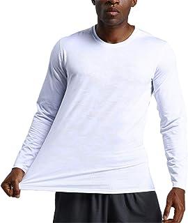 Mens جولة الرقبة الجافة سريعة Tشيرت، ضئيلة صالح اللياقة البدنية مزود بغطاء علوي بلون بلوزة أعلى لكرة السلة,ابيض,L
