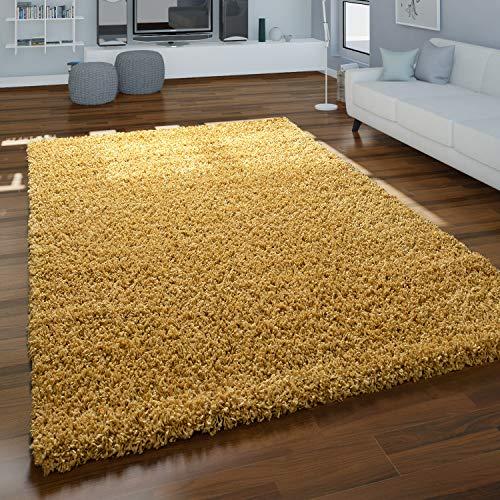 Alfombra Pelo Largo Amarilla Salón Shaggy Suave Resistente Mullida Robusta, tamaño:70x140 cm