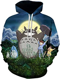 Women Hoodie, Totoro Hoodie 3D Cartoon Totoro Hoodie Pullover Sweater for Women (Color : 01, Size : X-Large)
