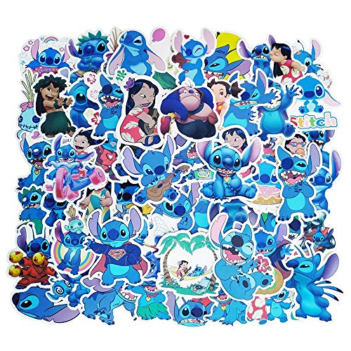 Lilo and Stitch Laptop Stickers, 55 Pcs Anime Cartoon Vinyl Decal Lilo & Stitch Stickers for Water Bottle Hydroflask Snowboard Car Bumper, Choice for Kids Teens Boys Girls Friends