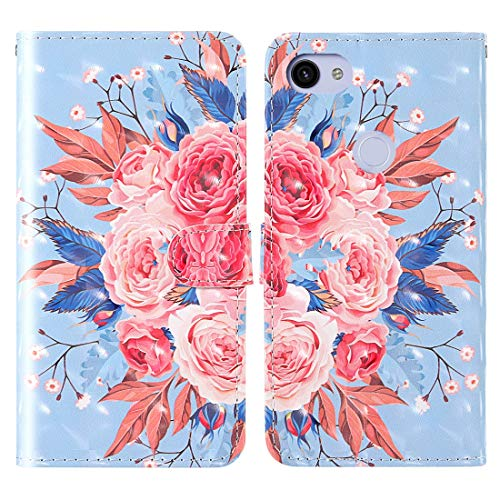 IAODUJIA Cellphone Case Compatible for Google Pixel 3a 3D Painting Colored Drawing Pattern Horizontal Flip TPU + PU Leather Case with Holder & Card Slots & Wallet & Lanyard Protective Case Covers