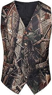 Mens Slim Fit Big Tree Camo Camouflage Vest and Tie Prom Wedding Vest