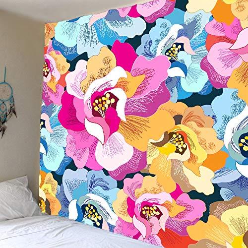 Tapiz psicodélico hippie flor colorida alfombra de tela de pared toalla de playa tapiz de tela de fondo toalla de playa A1 180x200cm