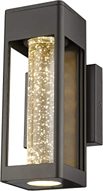 Emliviar LED Indoor Outdoor Wall Light, Wall Sconce in Black Finish with Bubble Glass, 0397-WD