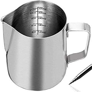 Homepixi Milk Frothing Pitcher with Coffee Art Needle, 304 Stainless Steel Espresso Coffee Pitcher with Coffee Art Pen (35...