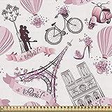 ABAKUHAUS Eiffel Stoff als Meterware, Liebe in Paris Bridal