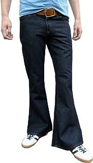 Fuzzdandy da Uomo Denim Bell Bottoms Vintage Stile Retro Flares Jeans Blu Indaco