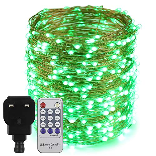 Erchen Plug in Fairy Lights, 165 FT 50M 500 LED Dimmable Copper Wire LED Starry String Lights with 12V DC Power Adapter Remote Control for Wedding Christmas Party Bedroom (Green)