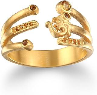Satya Jewelry 黄水晶镀金片 Om 可调节戒指,尺寸 7-9