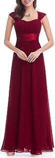 Ever-Pretty Vestito da Cerimonia Donna Linea ad A Senza Maniche Chiffon Stile Impero Lungo 08834