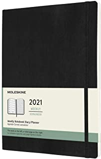 Moleskine 2021 Weekly Planner, 12M, Extra Large, Black, Soft Cover (7.5 x 9.75)