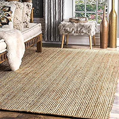 The Knitted Co. 100% Jute Braided Area Rug- Natural Fibers (8x10 Feet)