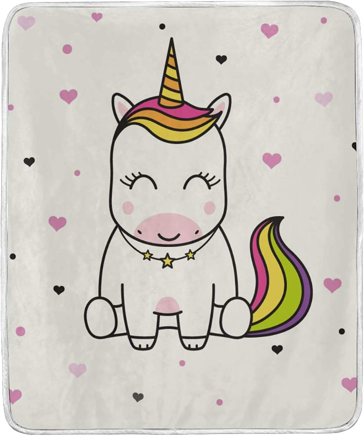 ColourLife Soft Microfiber Bed Blanket Cute Smiling Unicorn Throw Cozy Warm Flannel Fleece Blanket for Kids Women Bed Sofa Couch Beach 50x60 inches