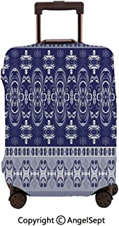 Luggage Cover Suitcase Protector,Tribal Ehnic Style Floral Horizontal work Dark Blue Pale Blue and White,23.6x31.9inches,Stretchy Dustproof Travel Protector Cover