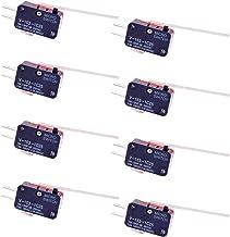 CESFONJER Paquete de 8 unidades de sensores de final de carrera con interruptor de palanca de bisagra recta larga V-153-1C25