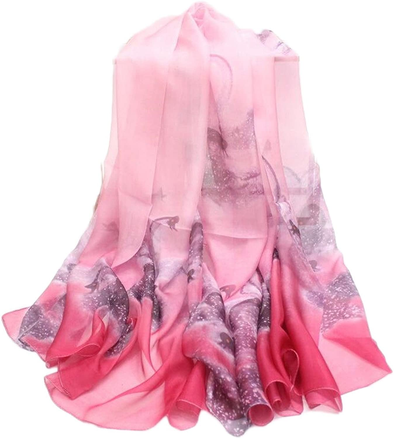 Women's Scarf Transparent Medium Thickness Printed Silk Scarf for Travel Party Dating, Size 43  70 Inch,