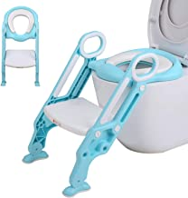 SNAN Kid Toilet Ladder, Adjustable Potty Training Toddler Stool with Step Ladder, Soft Cushion Sturdy Seat, Comfortable Handles and Non-Slip Wide Steps for Girls and Boys Baby Using (Blue)