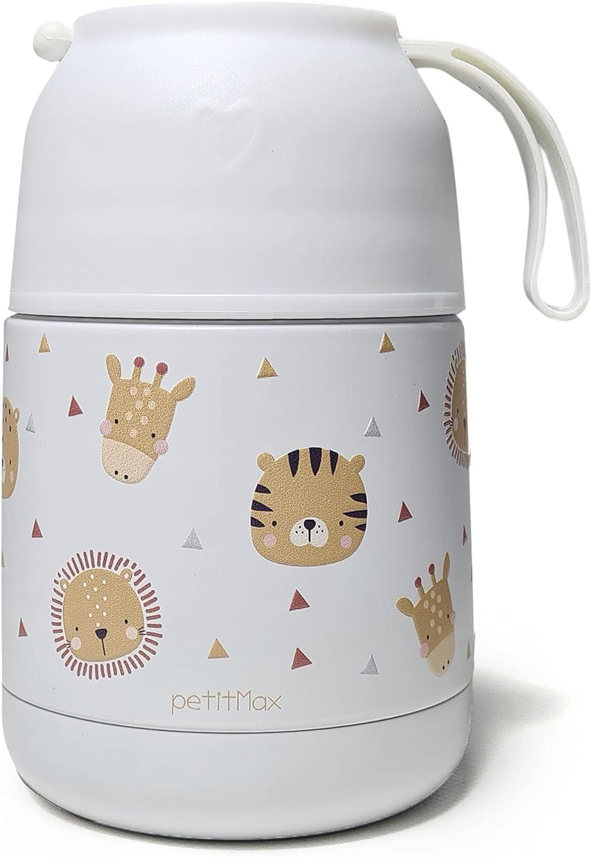 Petitmax: Termo De Acero Inoxidable Para Comida Caliente Solidos Bebe Sin BPA Con Cuchara Plegable Y Taza (Blanco Animales)