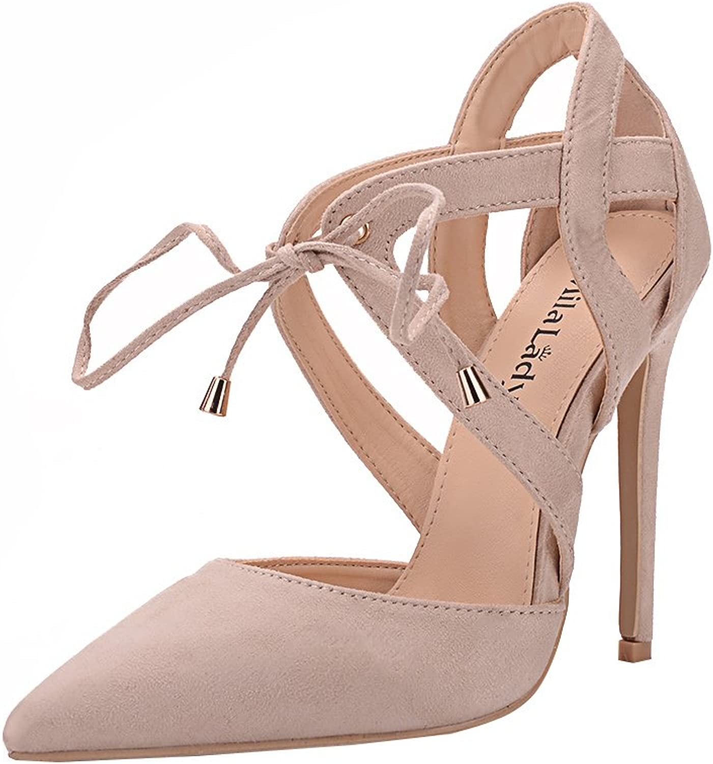 Mila Lady Nydia D'Orsay Classic Lace Ankle Strappy Elegance Platform Lady Heels