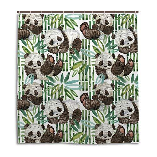 Ruchen Badezimmer-Duschvorhang, wasserdicht, süßer Panda-Aquarell-Bamus, schimmelresistent, wasserabweisend, 182,9 cm Polyester, Polyester, grün, 60x72 inch