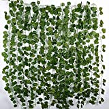 JNCH 12 Tiras Hiedra Artificial 2 m Plantas Artificiales Colgantes Hojas de Vid Enredaderas Guirnaldas para Decoración Fiesta Boda Escalera Pared Exterior