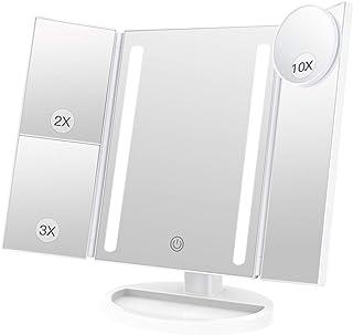BESTOPE 化粧鏡 卓上鏡 鏡 三面鏡 拡大鏡 卓上 led付き 折りたたみ 2倍&3倍 明るさ調節可能 180°回転 電池&USB 2WAY給電