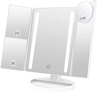 BESTOPE 化粧鏡 卓上鏡 鏡 三面鏡 拡大鏡 卓上 led付き 折りたたみ 2倍&3倍&10倍 明るさ調節可能 180°回転 電池&USB 2WAY給電