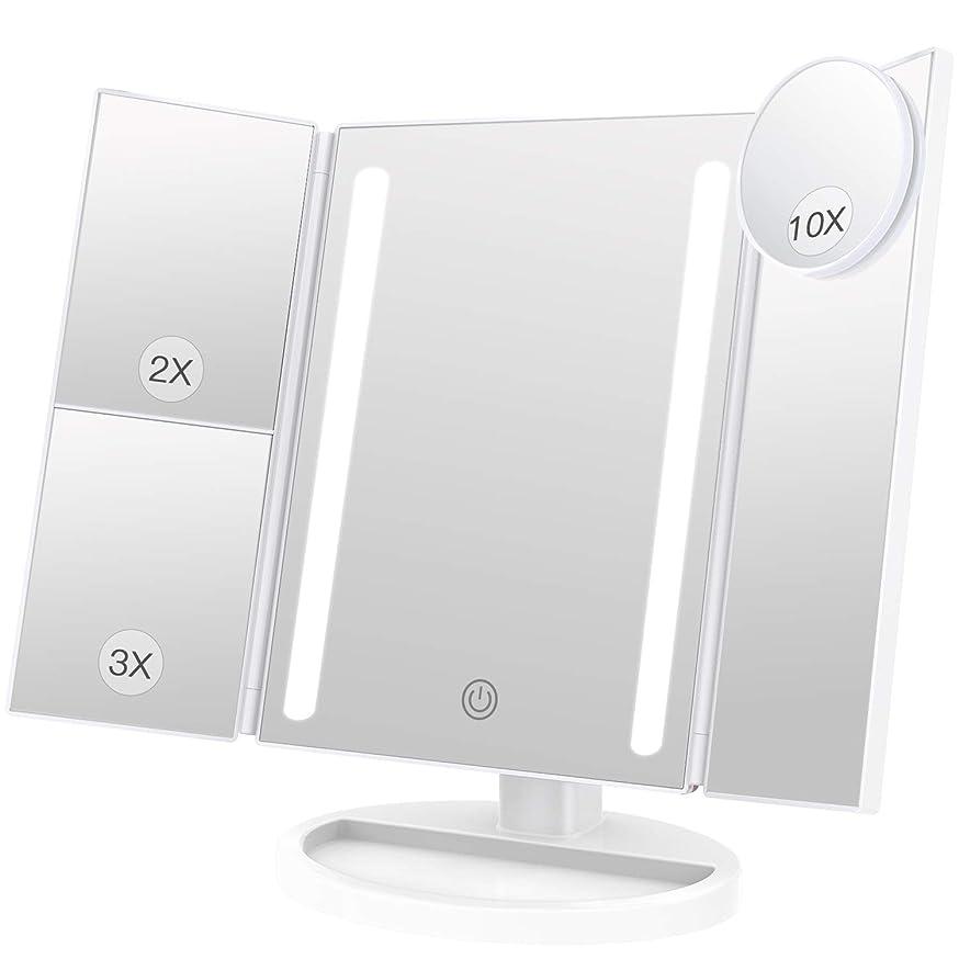 花嫁ニンニク爵BESTOPE 化粧鏡 卓上鏡 鏡 三面鏡 拡大鏡 卓上 led付き 折りたたみ 2倍&3倍 明るさ調節可能 180°回転 電池&USB 2WAY給電