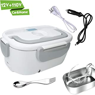 Electric Lunch Box for Car and Home 110V & 12V 40W – Removable Stainless Steel..