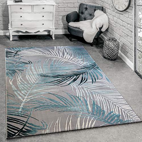 Paco Home Designer Teppich Modern Wohnzimmer Teppiche 3D Palmen Muster In Grau Türkis Creme, Grösse:160x230 cm
